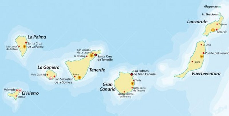 Cartina Canarie Spagna.Isole Canarie